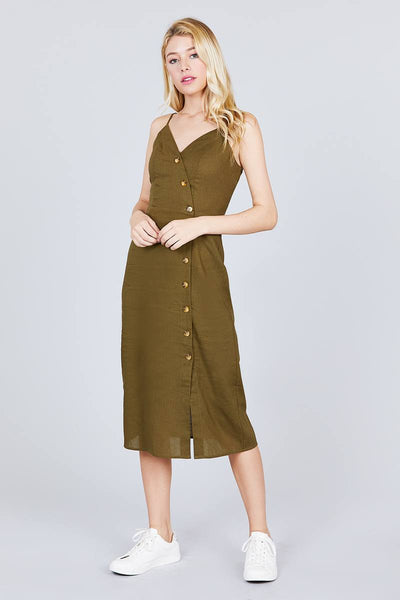 V-neck Surplice Button Down Midi Linen Dress - Kendalls Deals