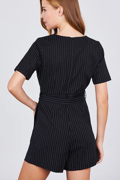Short Sleeve V-neck Surplice W/waist Belt Stripe Romper - Kendalls Deals