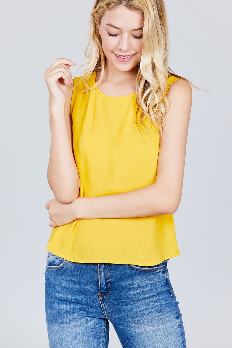 Sleeveless Round Neck Back Button Detail Woven Top - Kendalls Deals