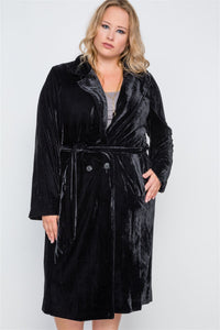 Plus Size Velvet Long Sleeve Trench Coat - Kendalls Deals