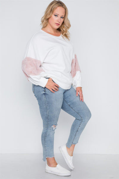 Plus Size Faux Fur Pink Sleeves Sweater - Kendalls Deals