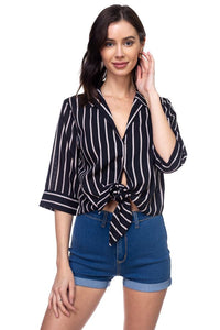 Stripe Knot Top Shirt - Kendalls Deals