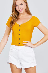 Short Sleeve Off The Shoulder Neckline Button Down Rayon Spandex Rib Knit Top - Kendalls Deals
