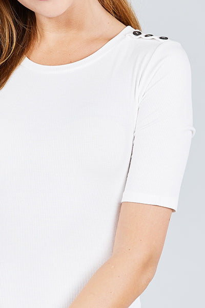 Elbow Sleeve Crew Neck W/shoulder Button Detail Rib Knit Top - Kendalls Deals