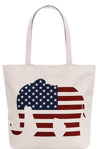Us Flag Elephant Print Canvas Tote Bag