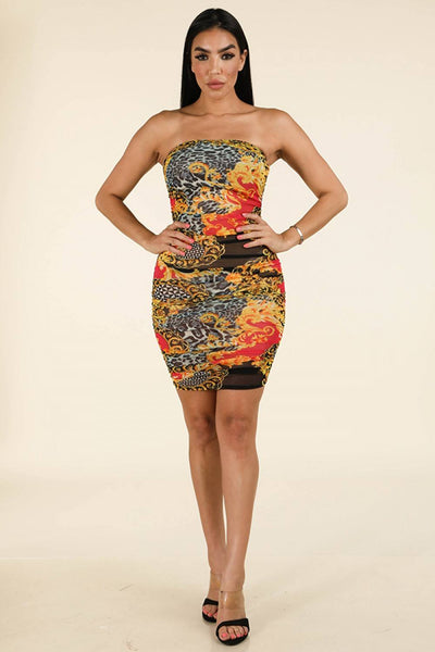 Side Ruching Tube Dress - Kendalls Deals