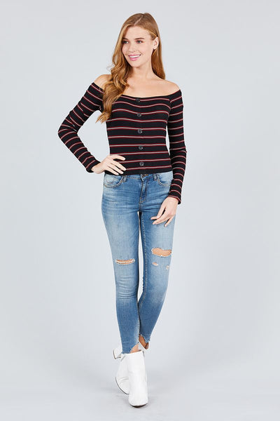 Long Sleeve Off The Shoulder Neckline Button Down Multi Stripe Rib Knit Top - Kendalls Deals