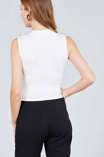 Sleeveless Mock Neck W/shoulder Button Detail Rayon Spandex Rib Crop Knit Top - Kendalls Deals