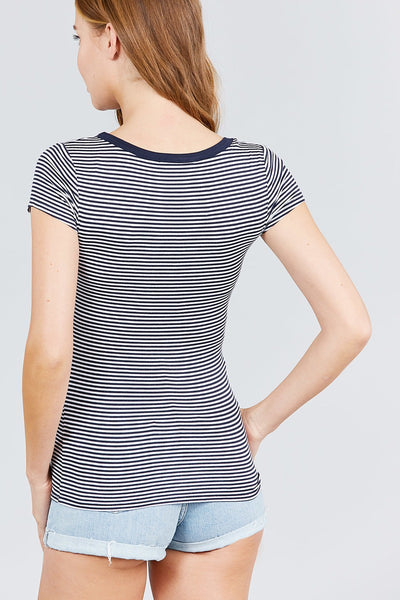 Short Sleeve Contrast Henley Neck Stripe Rayon Spandex Knit Top - Kendalls Deals