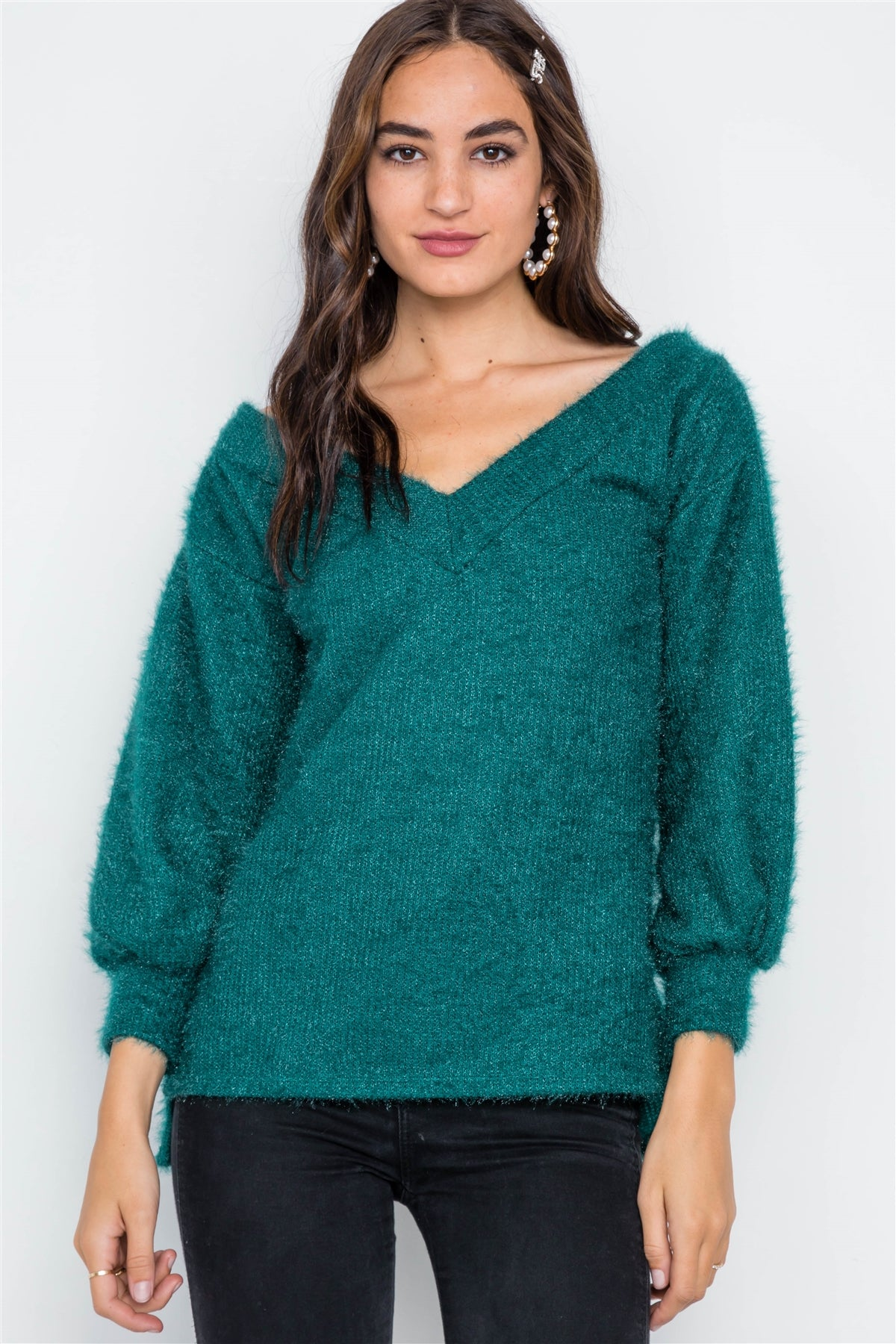 Teal Fuzzy Long Sleeve V-neck Sweater - Kendalls Deals