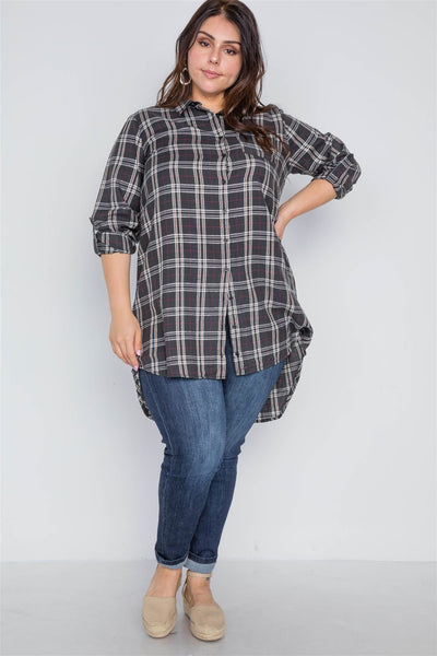 Plus Size Green Taupe Plaid Long Sleeve Top - Kendalls Deals