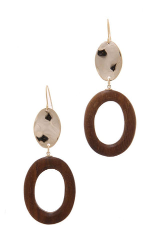 Wood Circle Shape Hammered Oval Drop Earring