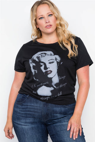 Plus Size Black Graphic Marilyn Monroe Knit Top