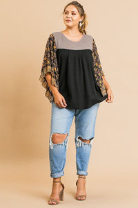 Sheer Floral Mixed Print Dolmen Sleeve Waffle Knit Yoke Knit Top - Kendalls Deals