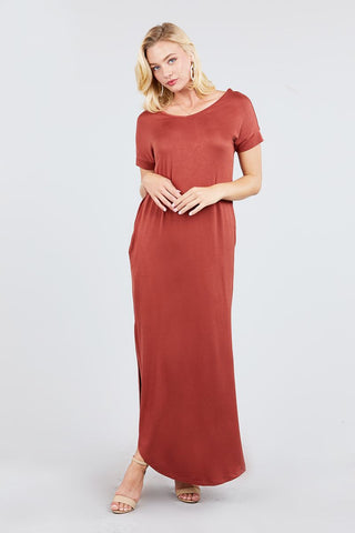 Short Dolman Sleeve Double V-neck W/side Pocket Rayon Spandex Side Slit Maxi Dress