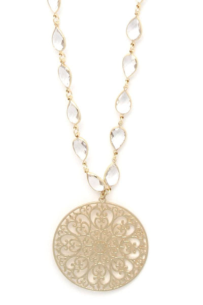 Filigree Circle Teardrop Shape Necklace - Kendalls Deals