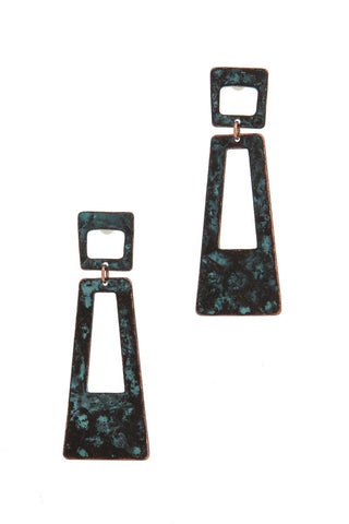 Cut Out Rectangular Shape Post Earring