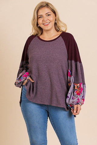 Floral Print Long Puff Sleeve Round Neck Waffle Knit Top - Kendalls Deals