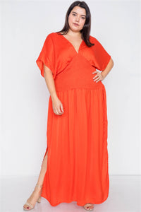 Plus Size V-neck Satin Kimono Sleeve Maxi Dress