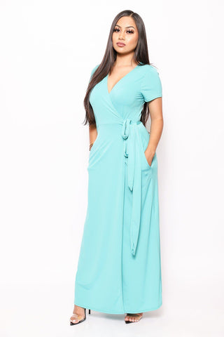 Simple, Sexy, And Chic Floor Length Wrap Dresses - Kendalls Deals