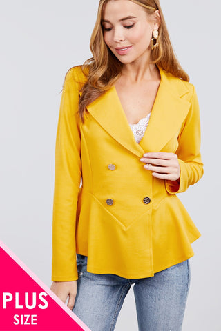 Long Sleeve Notched Lapel Collar Double Breasted Ruffle Hem Jacket - Kendalls Deals