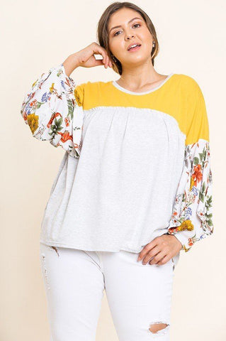 Floral Print Puff Sleeve Round Neck Heathered Top - Kendalls Deals