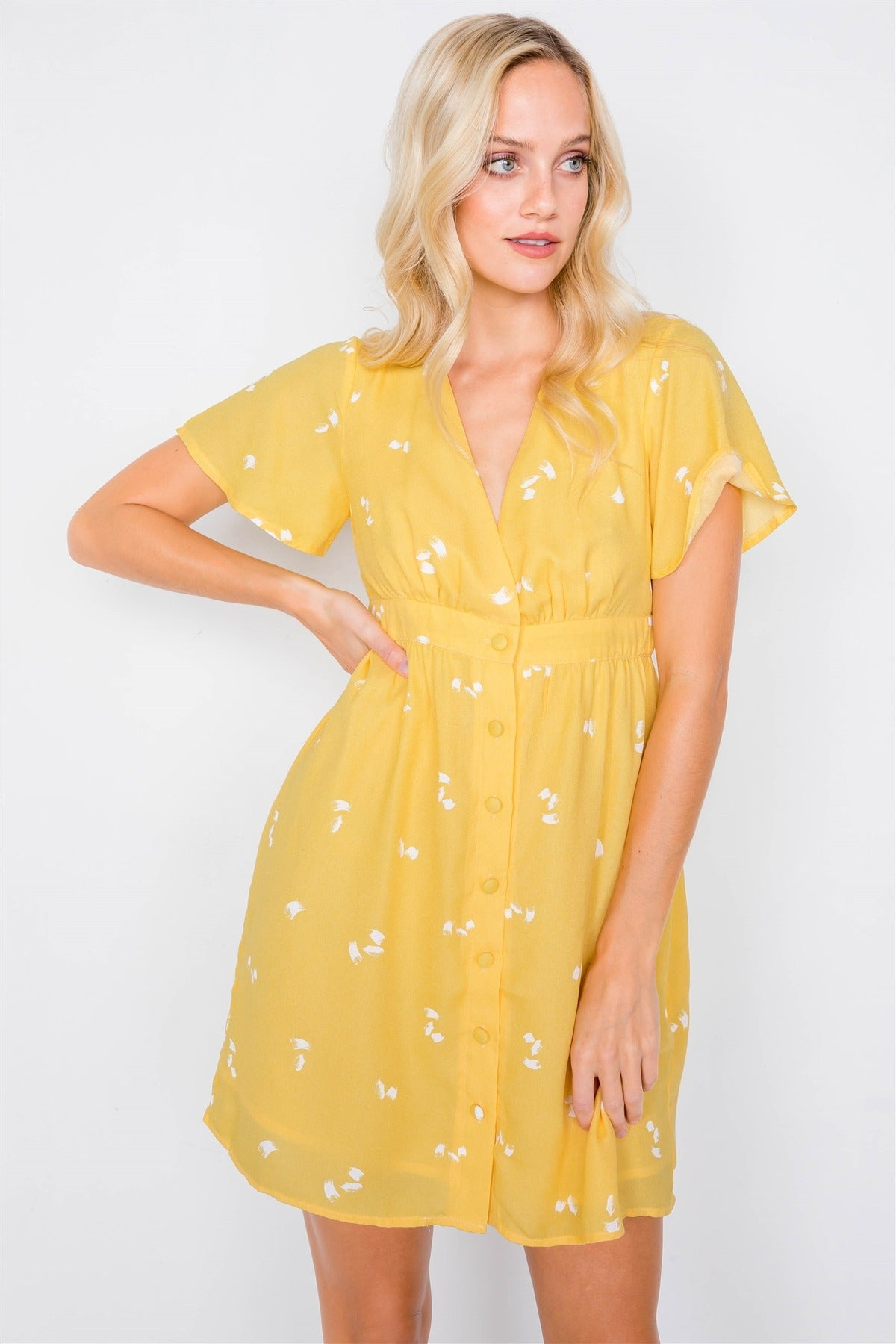Flutter Sleeve Button Down V-neck Mini Dress - Kendalls Deals