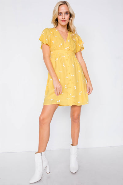 Flutter Sleeve Button Down V-neck Mini Dress