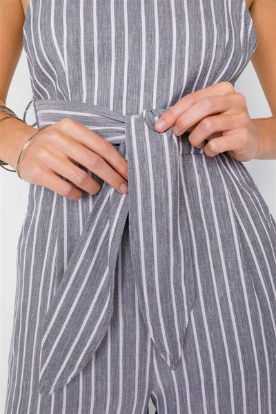 Stripe Front Tie Waist Band Open Back Jumpsuit