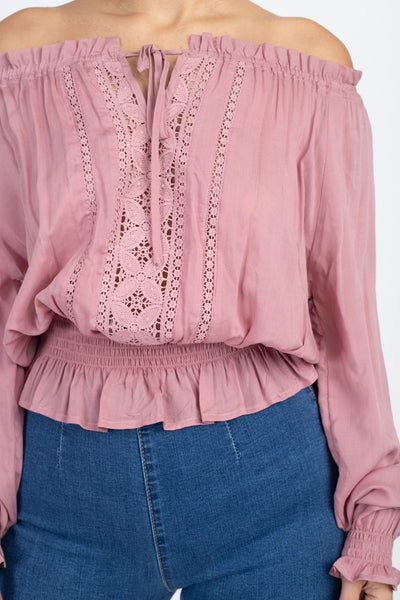 Off Shoulder Embroidered Shirt - Kendalls Deals