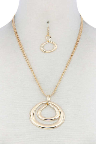 Double Oval Shape Pendant Necklace