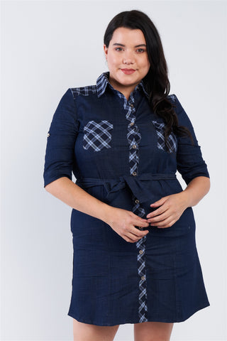 Plus Size Denim Blue Plaid Stripe Trim Front Button Jean Mini Dress