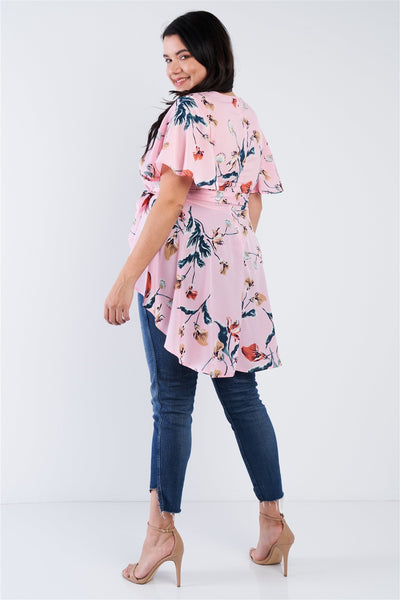 Plus Size Pink Multi Floral Print Wrap High-low Top