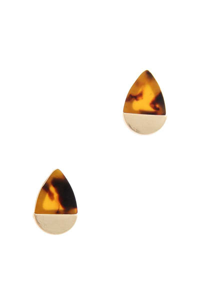 Half Acetate Half Metal Teardrop Shape Earring