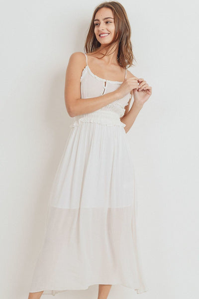 Ruffled Edges Spaghetti Strap Dress