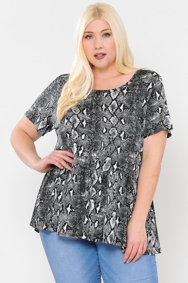 Camo Print With Babydoll Short Sleeve Top
