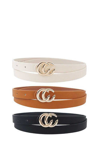 3 Pcs. Trendy Skinny Belt Set - Kendalls Deals