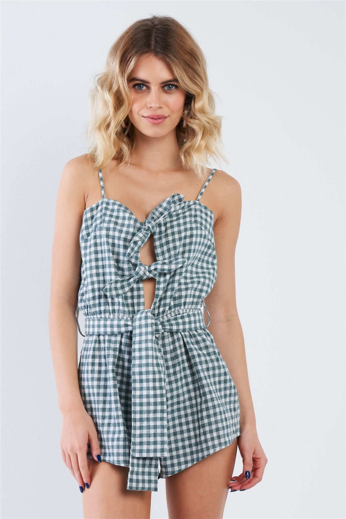 Green Checkered Layered Bow Cut Out Short Romper - Kendalls Deals