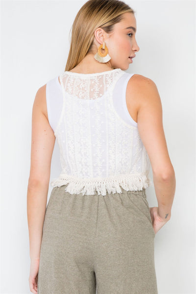 Ivory Bohemian Lace Crochet Sheer Fringe Crop Top - Kendalls Deals