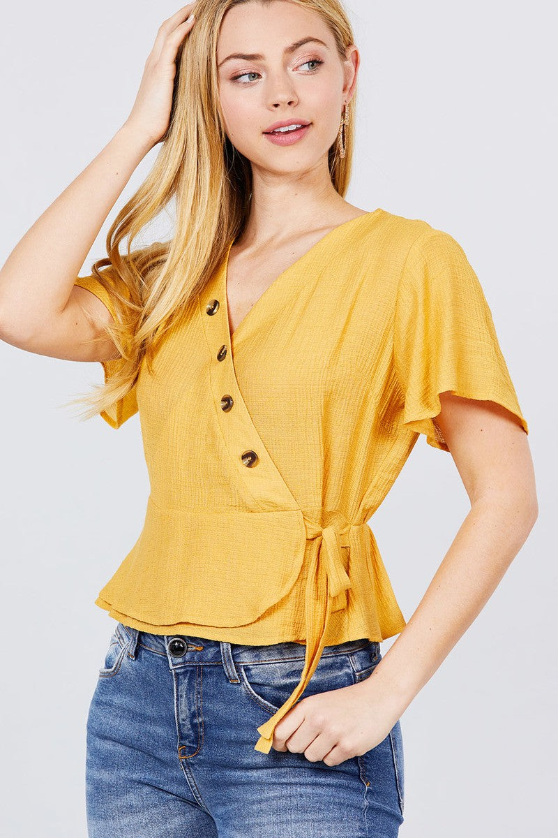 Short Sleeve V-neck Surplice Button Down Detail Ribbon Tie Back Shirring Woven Top - Kendalls Deals
