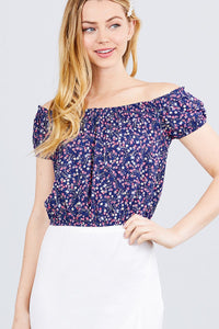 Short Sleeve Off The Shoulder W/shirring Detailed Printed Woven Crop Top - Kendalls Deals