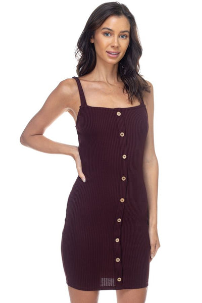 Button Down Ribbed Mini Dress - Kendalls Deals