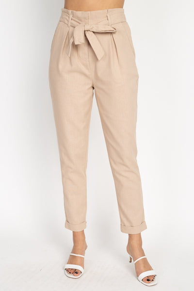 Belted Linen Paper Bag Pants - Kendalls Deals