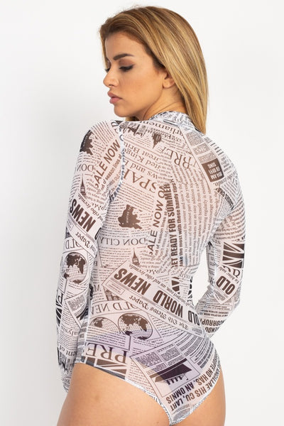 Newspaper Graphic Mesh Bodysuit - Kendalls Deals