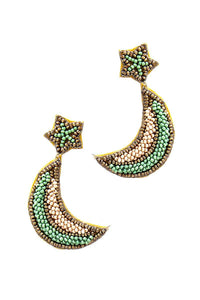 Trendy Beaded Star And Moon Earring - Kendalls Deals