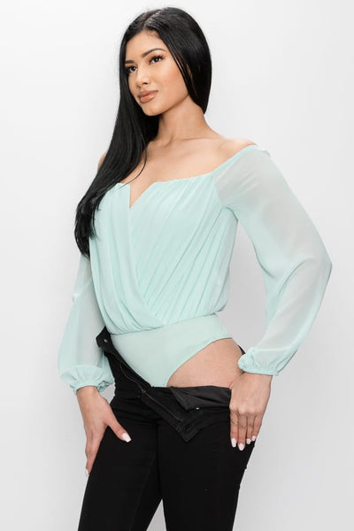 V-cut Front Off Shoulder Bodysuit - Kendalls Deals