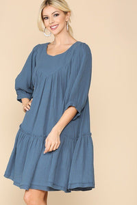 3/4 Sleeve Pocket Ruffle Pintuck Swing Dress - Kendalls Deals