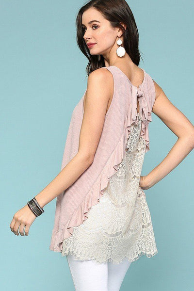 Sleeveless Back Lace Ruffle Detail Tank Top - Kendalls Deals