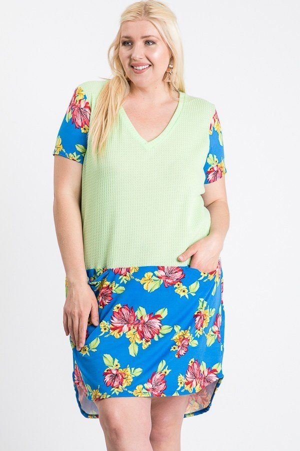 Short Sleeve Floral Blocked Midi Dress With Front Pocket - Kendalls Deals