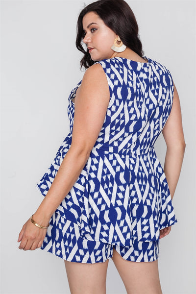 Plus Size Off White Blue Sleeveless Tribal Print Top - Kendalls Deals
